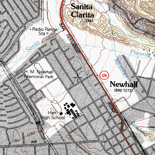 Topographic Map of Valencia Open Bible Church, CA