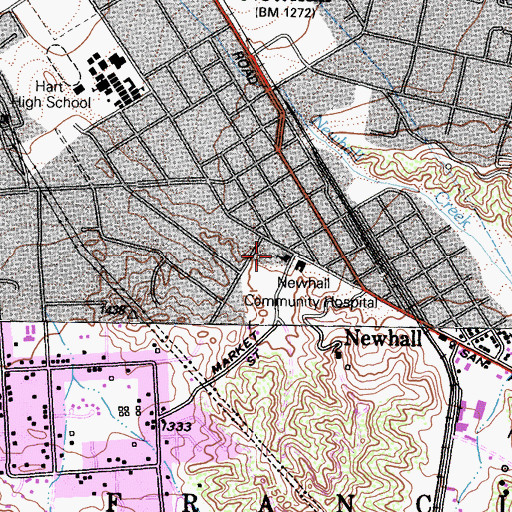 Topographic Map of First Presbyterian Church, CA