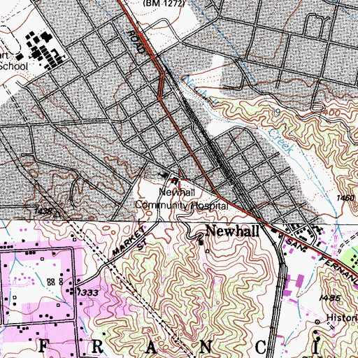Topographic Map of Queen of Angels Catholic Church, CA