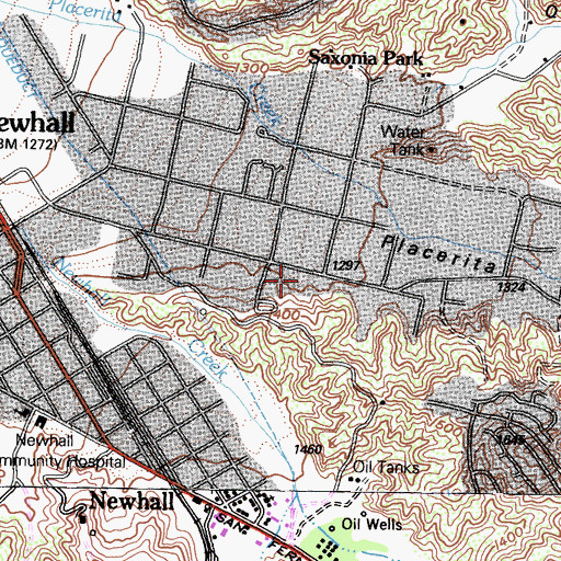 Topographic Map of Rutherford Hall, CA