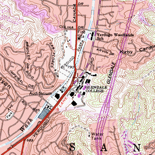 Topographic Map of Arroyo Seco Building, CA