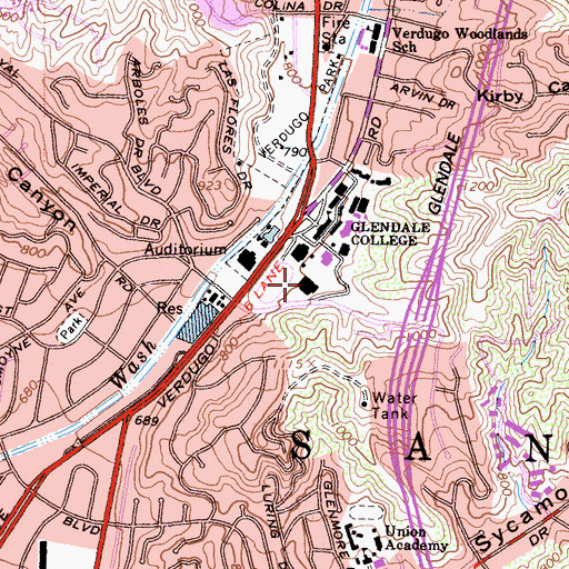 Topographic Map of Verdugo Gymnasium, CA
