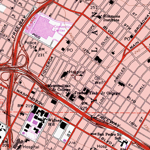 Topographic Map of City of Los Angeles Fire Department Station 10, CA
