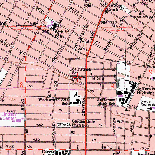 Topographic Map of City of Los Angeles Fire Department Station 14, CA