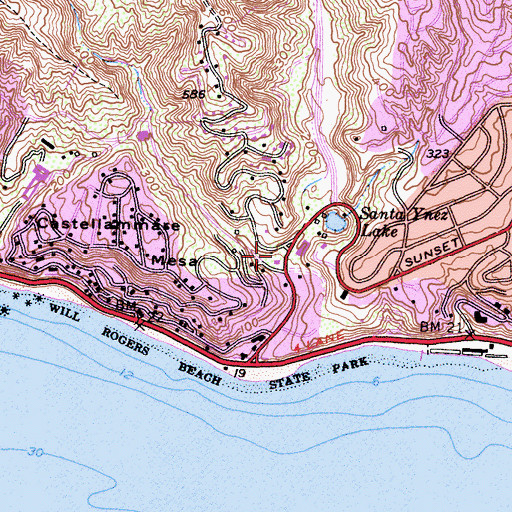 Topographic Map of City of Los Angeles Fire Department Station 23, CA