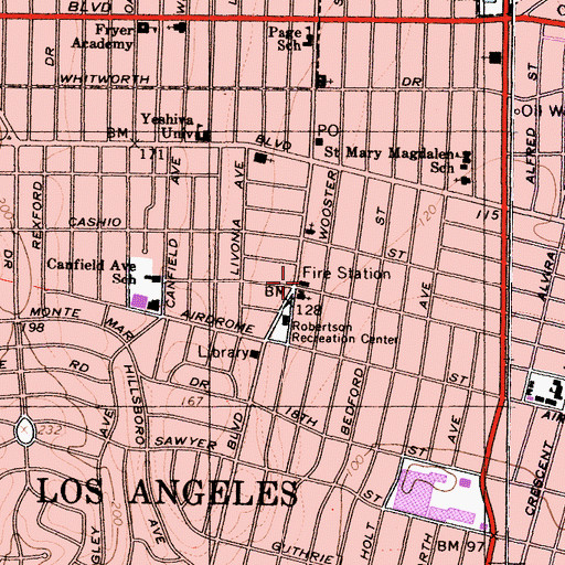 Topographic Map of City of Los Angeles Fire Department Station 58, CA