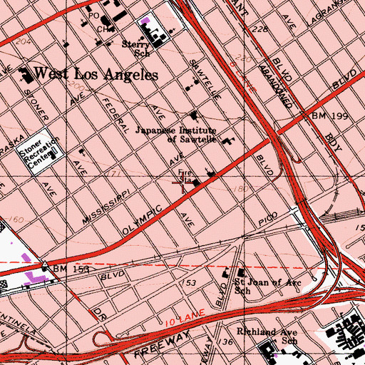 Topographic Map of Los Angeles Fire Department Station 59, CA
