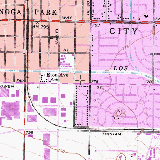 Topographic Map of City of Los Angeles Fire Department Station 72, CA