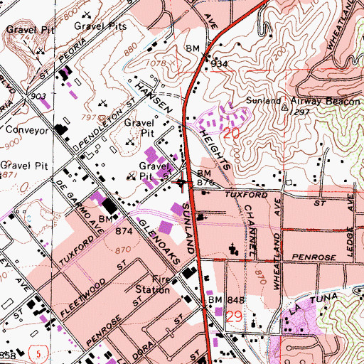 Topographic Map of City of Los Angeles Fire Department Station 77, CA