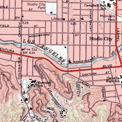 Topographic Map of Los Angeles Fire Department Station 78, CA