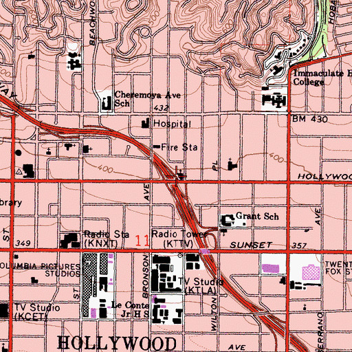 Topographic Map of City of Los Angeles Fire Department Station 82, CA
