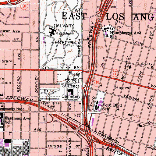 Topographic Map of Los Angeles County Fire Department Station 3, CA