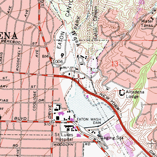 Topographic Map of Los Angeles County Fire Department Station 66, CA
