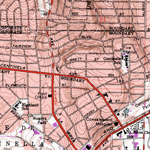 Topographic Map of Los Angeles County Fire Department Station 172, CA