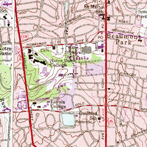 Topographic Map of Ahern Hall, MD