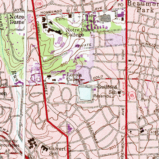 Topographic Map of Armiger House, MD