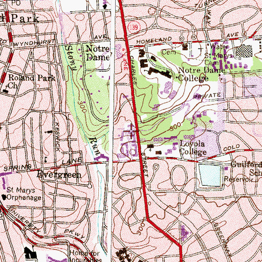 Topographic Map of Lange Court, MD