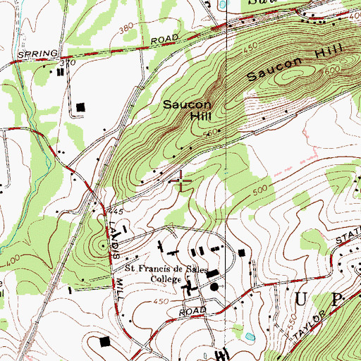 Topographic Map of Jacquier Center, PA