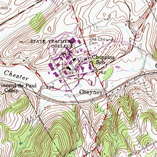 Topographic Map of Ada Georges Hall, PA