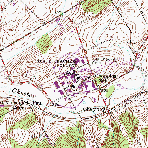 Topographic Map of Vaux Hall, PA