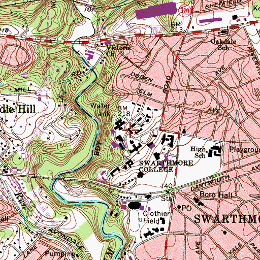 Topographic Map of Beardsley Hall, PA