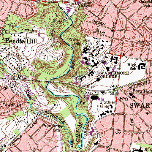 Topographic Map of Hallowell Hall, PA