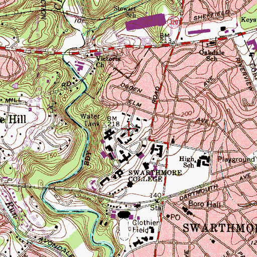 Topographic Map of Papazian Hall, PA