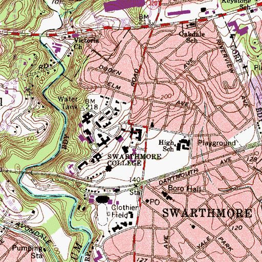 Topographic Map of Willets Hall, PA