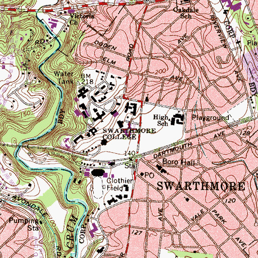 Topographic Map of Woolman House, PA