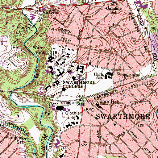 Topographic Map of Worth Health Center, PA