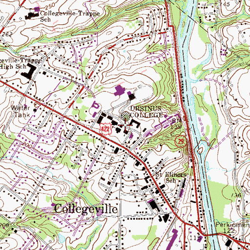 Topographic Map of F W Olin Hall, PA
