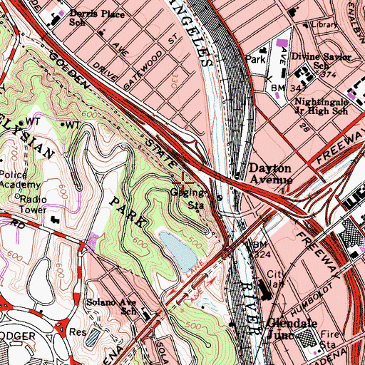 Topographic Map of Exit 137B, CA