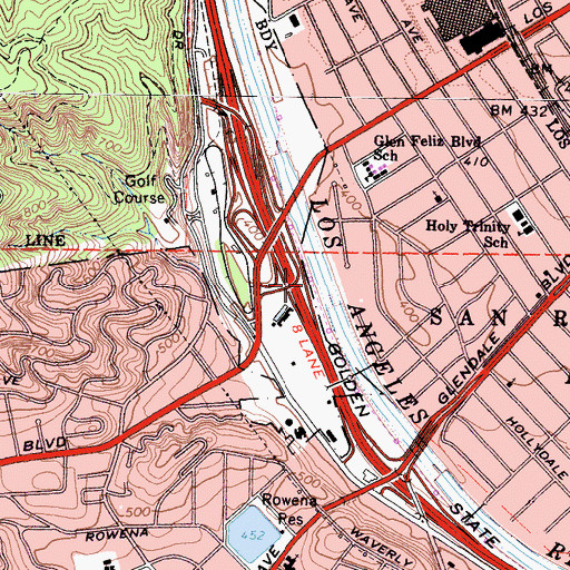 Topographic Map of Exit 141A, CA