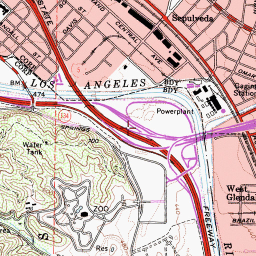 Topographic Map of Exit 144B, CA