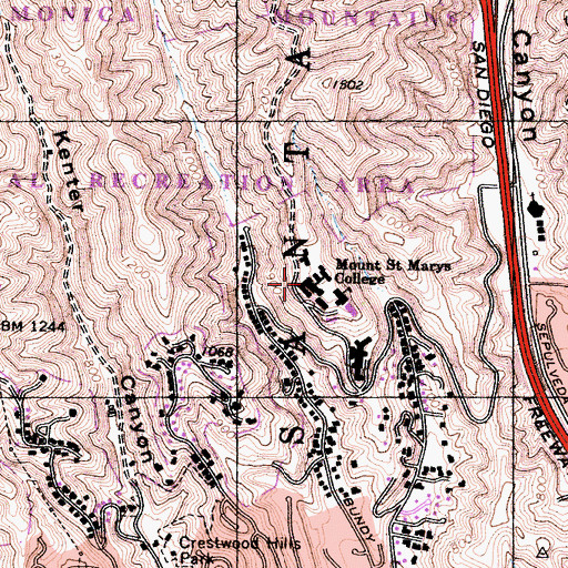 Topographic Map of Brady Hall, CA