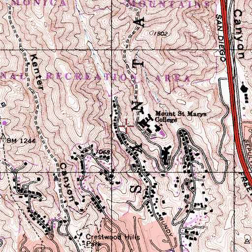 Topographic Map of Carondelet Hall, CA