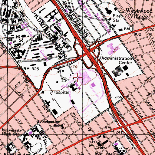 Topographic Map of Veterans Affairs Medical Center West Los Angeles, CA
