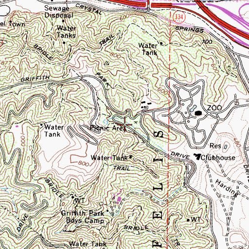 Topographic Map of Mineral Wells Picnic Area, CA