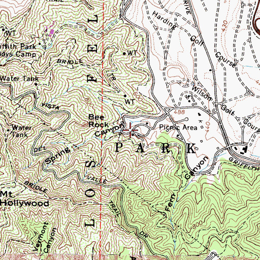 Topographic Map of Old Zoo Picnic Area, CA