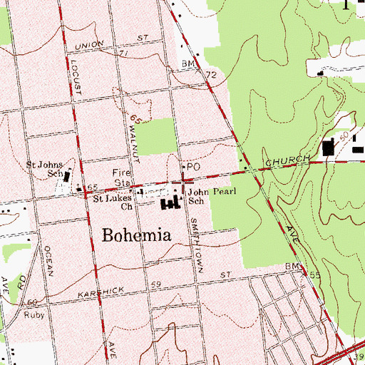 Topographic Map of Bohemia School Number 7 (historical), NY