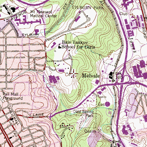 Topographic Map of Waldorf School of Baltimore, MD