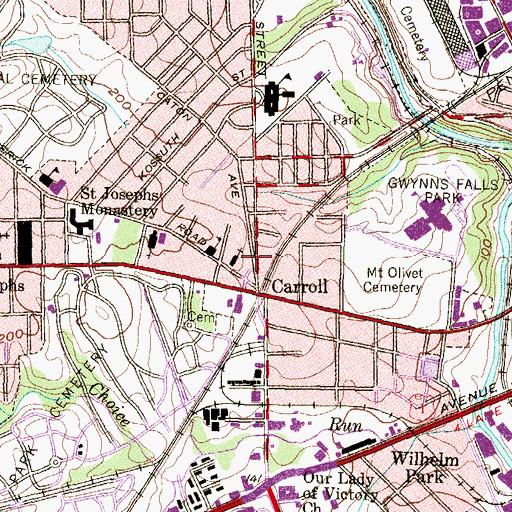 Topographic Map of Unselds School, MD