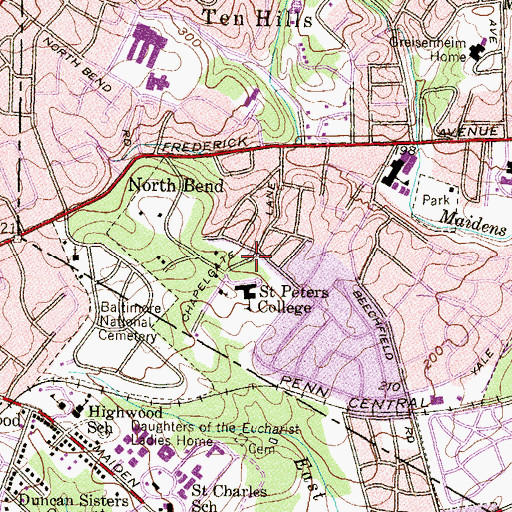Topographic Map of Catonsville Education Center, MD