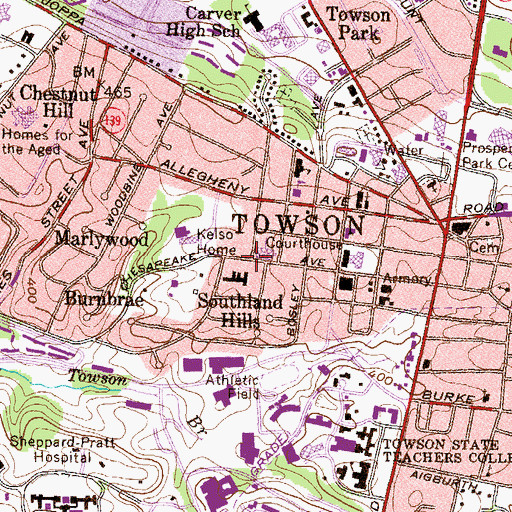 Topographic Map of Towson Presby Kindergarten and Nursery, MD