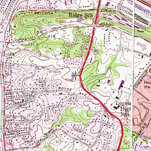 Topographic Map of Ridge Ruxton School, MD