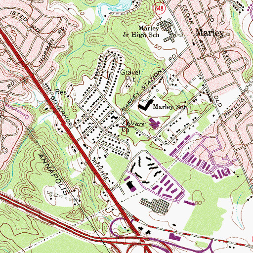 Topographic Map of Calvary Baptist Church Academy, MD