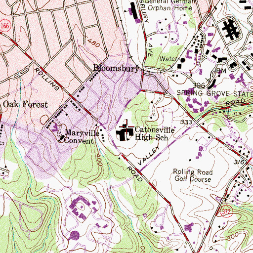 Topographic Map of Catonsville Evening High School, MD