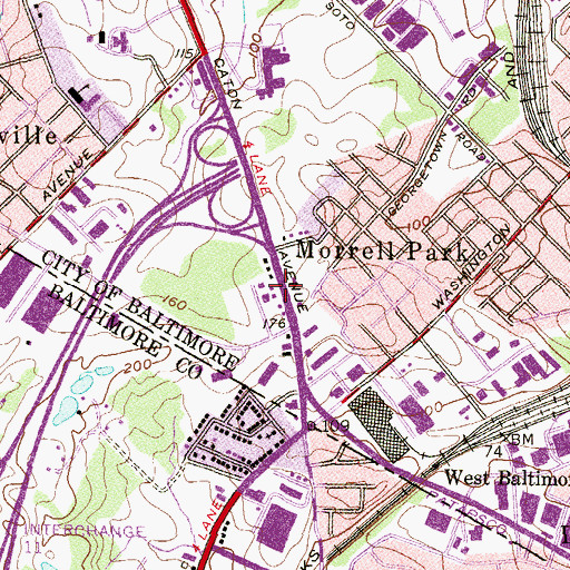 Topographic Map of Tesst College of Technology - Baltimore, MD