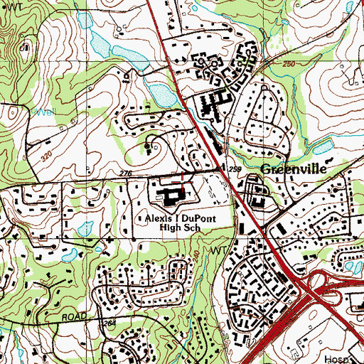 Topographic Map of Alexis I DuPont High School, DE