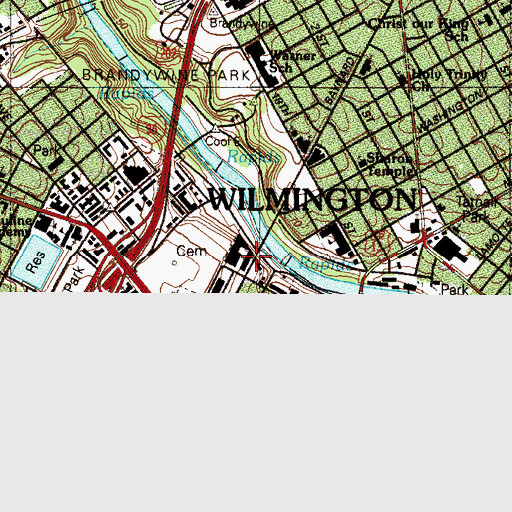 Topographic Map of Christiana Care Hospital Wilmington Site, DE